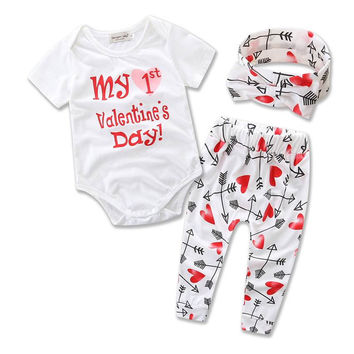 Retail 2017 Ins New Valentines Day Baby Girl Three Piece Sets Heart Arrow Bodysuit+Pants+Headband Children Clothing 0-2Y B1657