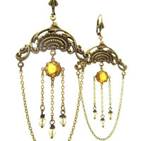 Huge Chandelier Earrings - Amber Sun Honey Gold Yellow - Art Deco Hollywood Dramatic Burlesque