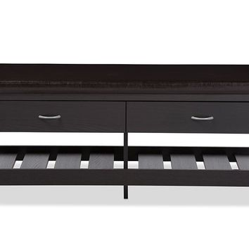 Baxton Studio Maurine Modern and Contemporary Dark Brown Wood 2-drawer and 2-shelf Shoe Storage Padded Leatherette Seating Bench  Set of 1