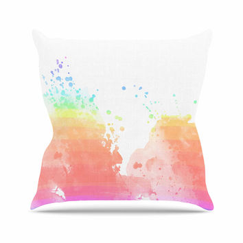 "Chelsea Victoria ""Color Splatter"" Pink Watercolor Outdoor Throw Pillow"