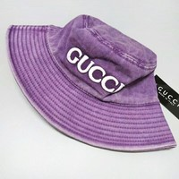GUCCI New fashion embroidery letter couple cap hat Purple