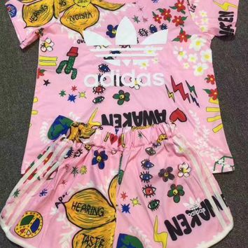 DCCKSP2 Cute Adidas Flowers Print T-Shirt Shorts Two-pieces Set