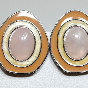 Vintage Rose Quartz Celia Sibiri Avon Earrings - Silvertone / Enamel - Designer Signed - Great Holiday / Birthday Gift - Estate Sale Jewelry