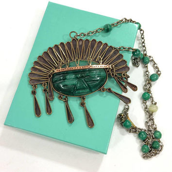 Large Mexican Tribal / Aztec Pendant Necklace, Copper & Green Onyx, 1960s, Tribal Statement Vintage Jewelry