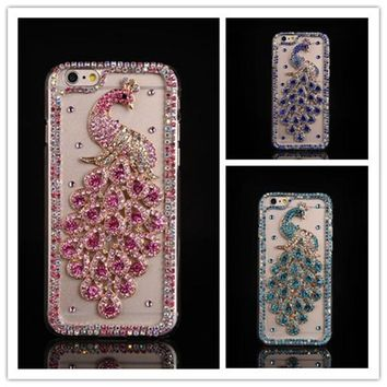 Dower Me Bling Diamond Peacock Case For iphone 7 6 Plus 5 5C 4S For Samsung Galaxy Note 5 4 3 2 S8/7/6 Edge Plus S5/4/3 A8/7/5