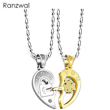 Ranzwal Romantic Stainless Steel Half Heart Pendants Necklaces for Couples Love You Key Lock Promise Necklaces 2PCS ANE089