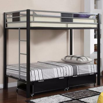 Clifton Contemporary Style Bunk Bed, Silver and Black