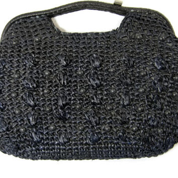 Vinage Straw Raffia Beaded Purse