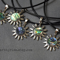 Abalone Sun Shaped Pendant Choker Necklace Leather Cord / Sun Choker / Paua Shell / Abalone Shell / Haliotis Iris