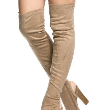 Taupe Faux Suede Chunky Cut Out Thigh High Boots @ Cicihot Boots Catalog:women's winter boots,leather thigh high boots,black platform knee high boots,over the knee boots,Go Go boots,cowgirl boots,gladiator boots,womens dress boots,skirt boots.