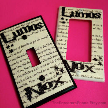 "HANDMADE. Harry Potter Inspired ""Nox Lumos"" On Off Light Switch Cover Plate REAL book Page! Glitter words Standard and Wide Toggle available"