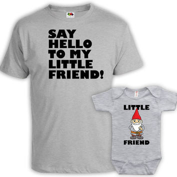 Matching Father And Baby Daddy And Me Outfits Father Son Matching Shirts Say Family Shirts Hello To Me Little Friend Baby Bodysuit DN-662663