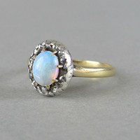 VICTORIAN opal and rose cut diamond antique engagement ring, solid 14k gold ring with silver set jelly rainbow opal.