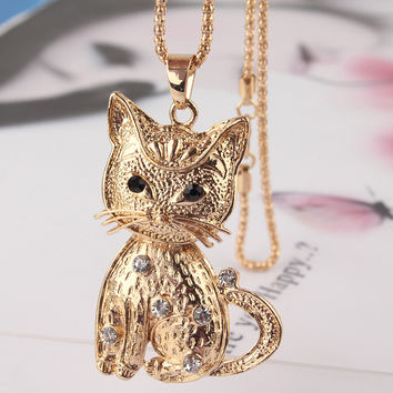 New14k Gold Filled Vogue Women Party Gift  White Austrian Crystal Cat Pendant  Dress Chain Necklace Jewelry