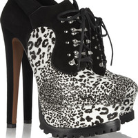 Alaïa | Animal-print calf hair and suede ankle boots | NET-A-PORTER.COM