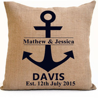 Monogram Mr Mrs Pillow Est Date Anchor Burlap Pillow Monogrammed Personalized Wedding Anniversary Present Custom Gift Photo Prop Christmas