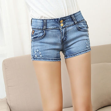 2015 Fashion denim shorts women Summer style elasticity women shorts jeans ripped edges short Beach sexy shorts for women