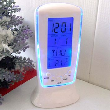 Led Digital Clock Despertador Desk white Clock Bedside Electronic Watch Square Gift For Kids Calendar warmth
