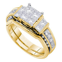 14k Yellow Gold 1.50Ctw Diamond Ladies Bridal Set: Ring
