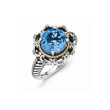 Sterling Silver with 14k Antiqued Blue Topaz and Diamond Ring