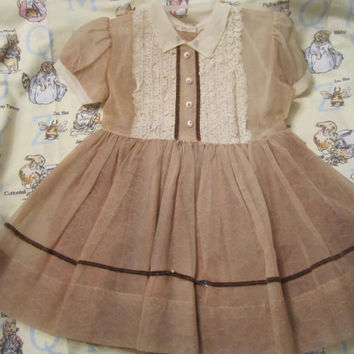 1940's Baby Girl Country Sheer Brown Nylon and Lace Lined Dress Grams Easter Special Prairie Plain Post War Finery Sunday School Cutey