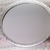 Shabby Chic Filigree Vanity Tray Mirror by SeasideRoseCreations