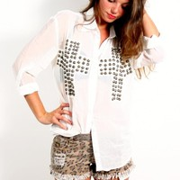 Reverse Studded Cross Blouse