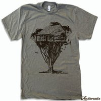 Mens TREEHOUSE Cabin t shirt american apparel S M L XL (in 16 Colors)