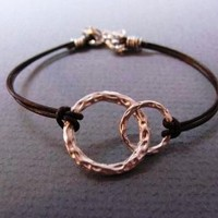 Silver Double Rings Leather Bracelet by ACutieChick on Etsy