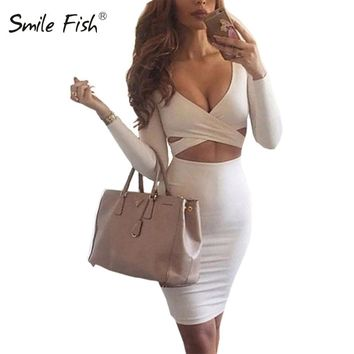 Sexy Bodycon Bandage Dress Elegant Long Sleeve Elastic Warm Party Dresses White Sexy Midi Club Dress Sheath Clubwear M0522