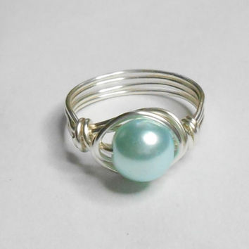 Soft Blue Glass Pearl Silver Plate Wire Wrapped Ring