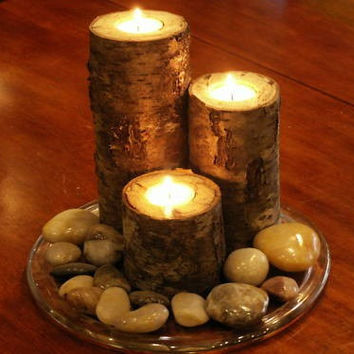 Birch Bark Real Wood Candle Holders Handmade Log Rustic Cabin Decor Tea Lite Tea Light Wedding