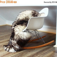 AUTUMN SALE - 5% Genuine Natural Black tips Sheepskin Rug, Pelt, soft long fur XXL Large - Mouflon