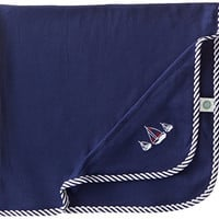 Little Me Baby-Boys Newborn Sailboats Blanket, Navy, One Size