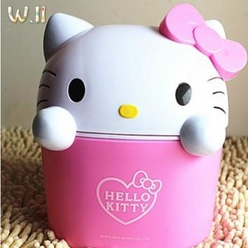 Hello Kitty Mini Trash Can Garbage Bucket KT Cartoon Lovely Desktop Waste Bin Car Trash Bin Resin Material 15*16*21cm