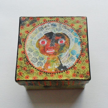 Art Trinket Box - Funky Box - Unique Trinket Box - Jewelry Box - Small Art Box - Handmade Jewelry Box - Unique Gift