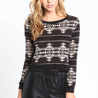 MONOCHROMATIC NAVAJO KNIT SWEATER