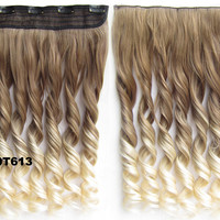 "Dip dye hairpieces New Fashion 24"" Women Clip in on gradient wig Bath & Beauty Hair Ombre Hair Extensions Two Tone Curly Hair Gradient Hair Extension Colorful Hairpieces GS-888 10T613,1PCS"