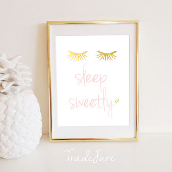 Sleep Sweetly, Print, Instant Digital Download, Nursery Decor, Pink, Gold, Eyelashes, Gallery Wall, 8x10, Bedroom Decor, baby girl gift