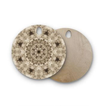 "Nick Nareshni ""Sandy Beach Mandala"" Tan Black Pattern Round Wooden Cutting Board"