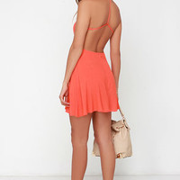 Flare for You Orange Backless Dress