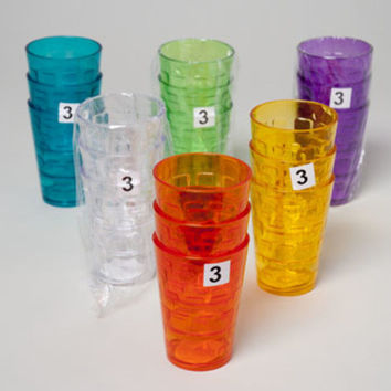 Tumblers Glass Look - 6 Assorted Colors (3Pk. 8Oz)