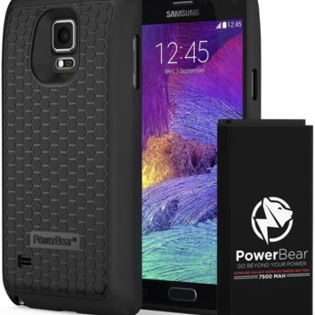 PowerBear Samsung Galaxy Note 4 Extended Battery [7500mAh] & Back Cover & Protec