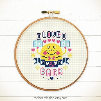 Valentine's Sweet Cross stitch pattern PDF - I Love you to the moon and back -Xstitch Instant download - love cute quote funny typographic