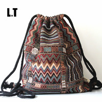 2016 Women Vintage Backpack Gypsy Bohemian Boho Chic Hippie Aztec Folk Tribal Woven String Backpack Female Drawstring Rucksack