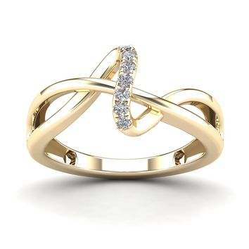 0.11CT Diamond Twisted Shape Ladies Ring Gold