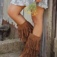 On The Fringe Rust Tall Flat Boots