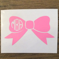 Monogrammed Bow Vinyl Decal - Laptop, Cars, Southern, Sorority