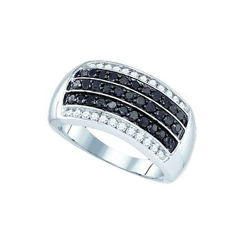 10kt White Gold Womens Round Black Colored Diamond Five Row Stripe Band 1 Cttw