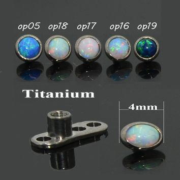 1pcs G23 Solid Titanium Base 4mm Opal Dermal Anchor Skin Diver Micro Dermal Body Piercing Jewelry